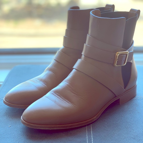 Tan Chloe flat ankle boots size 38.5